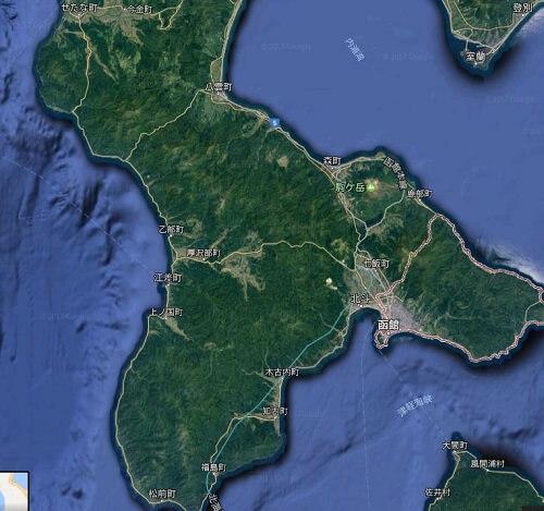 グーグルの航空写真を使って、函館周辺にあるヒラメが釣れる1級ポイントを探してみる。