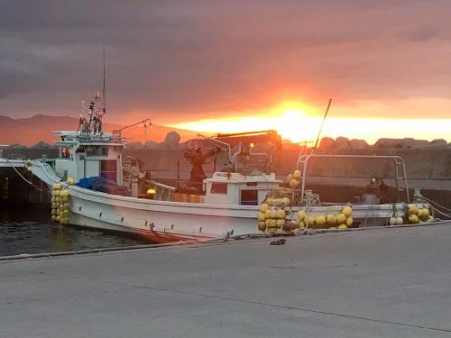 森漁港の夕日