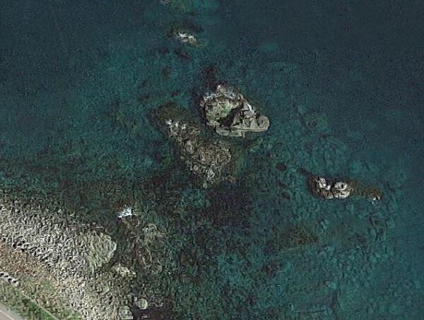 ゴロタ場の航空写真